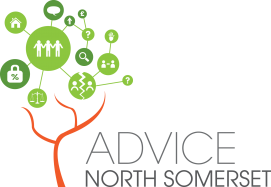 Text logo: Advice North Somerset