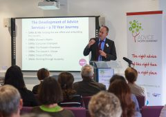 photo: Michael Bell speaking at Advice North Somerset Conference