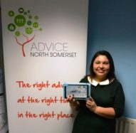 Photo: Ivi from North Somerset Training receiving her Go4IT award.