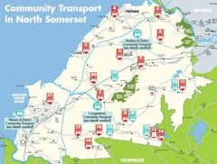 map: Community transport in North Somerset